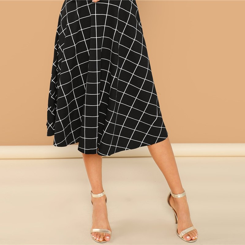 Women's Fit And Flare Black Plaid Dress